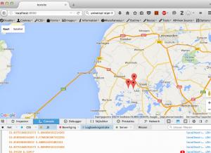Nu komen de coördinaten binnen (onderkant scherm)